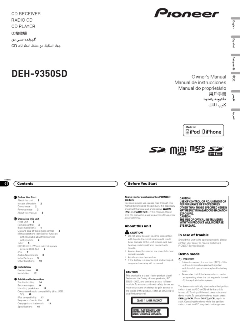 Pioneer DEH9350SD | I Pod | Usb