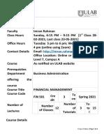FIN 501-2 Spring 2021 - Course Outline