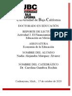 actividad 2.El Financiamiento de la Educación en México. Marquez
