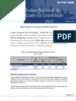 RELATORIO INCC-M FECHAMENTO Ago 15