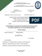 Caractérisation et évaluation de la qualité physico-chimique et de la pollution organique des eaux du Barrage Bouhamdane (W.de Guelma)