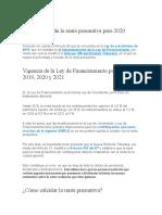 Modificación de la renta presuntiva para 2020