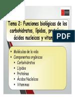 Clase 2 Funciones Biológicas de Los Carbohidratos, Lípidos, Proteínas, Ácidos Nucleicos y Vitaminas. (1)