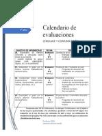 calendario de pruebas 4° años