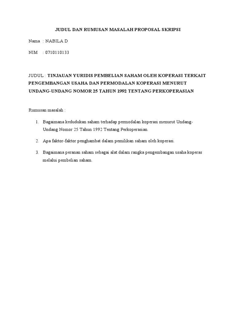 Judul Dan Rumusan Masalah Proposal Skripsi