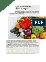 Diferenças Entre Dietas Vegetariana e Vegan