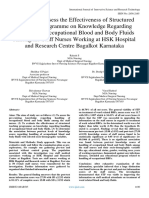 A Study to Assess the Effectiveness of Structured Teaching Programme on Knowledge Regarding Handling of Occupational Blood and Body Fluids Among the Staff Nurses Working at HSK Hospital and Research Centre Bagal
