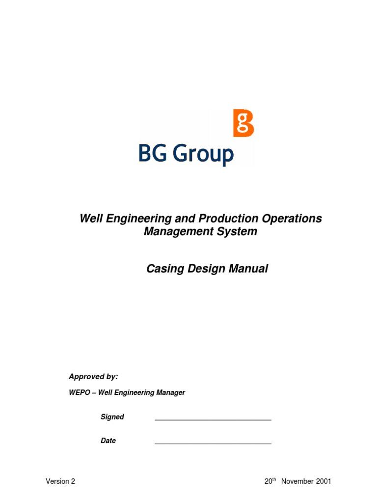 casing design manual bg 2001 casing borehole vortices rh es scribd com