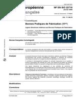 NF EN ISO 22716 - Cosmétiques Bonnes Pratiques de Fabrication (BPF)