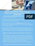April 12, 2021 IRCSD COVID-19 Update - A Message From Superintendent Dobmeier