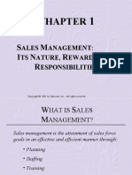 Chapter 01 SALES MANAGEMENT  ITS NATURE, REWARDS, AND RESPONSIBILITIES