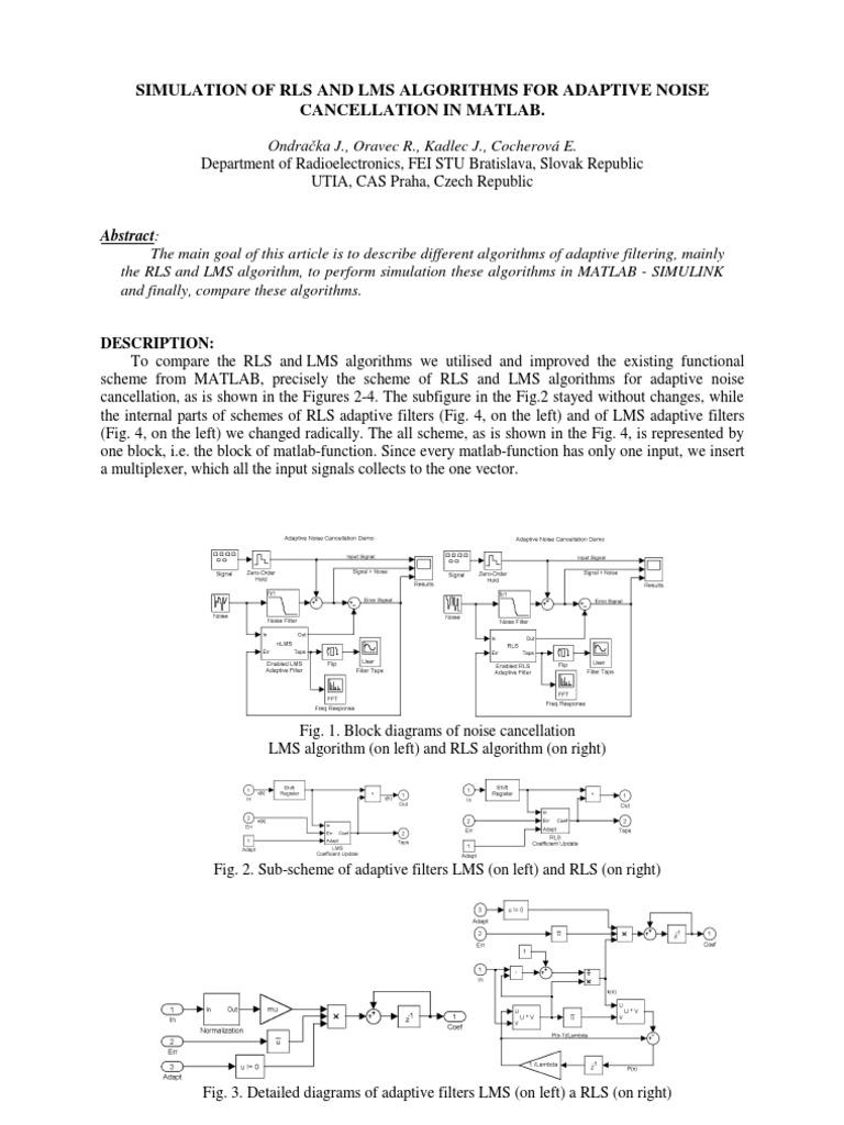 Rls Lms Noise Matlab algorithms | Filter (Signal Processing