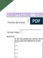 Formulario para Adaptación Curricular Individualizada
