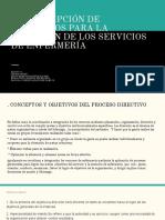 d) Descripción de Elementos Para La Dirección de Los Servicios de Enfermería