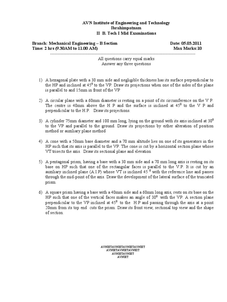 II mid Engineering Drawing question papers | Space