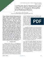 GC-MS Analysis of Nigella Sativa Seed Extract and Its Ameliorative Effects on Transgenic Drosophila Model of Parkinson Disease