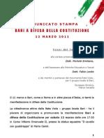Comunicato Stampa - Bari a difesa della Costituzione - 12 marzo