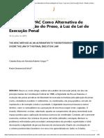 O Método APAC Como Alternativa de Ressocialização do Preso, à Luz de Lei de Execução Penal - Âmbito Jurídico