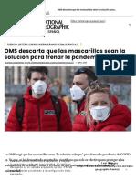 OMS descarta que las mascarillas sean la solución para frenar la pandemia - National Geographic en Español