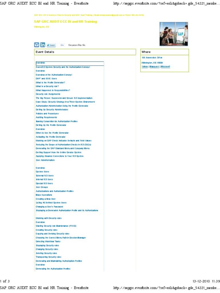 SAP GRC AUDIT ECC BI and HR..   User (Computing)   Audit