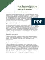Hongo Ganoderma lucidum para el tratamiento de los factores de riesgo cardiovasculares