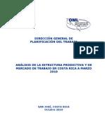 Análisis de la estructura productiva y de Mercado de Trabajo en Costa Rica Marzo 2010