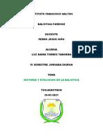 HISTORIA DE LA BALISTICA Y SU EVOLUCION DAIRA TORRES