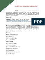 LISTADO DE EMPRESAS PARA ATENCIÓN DE EMERGENCIAS