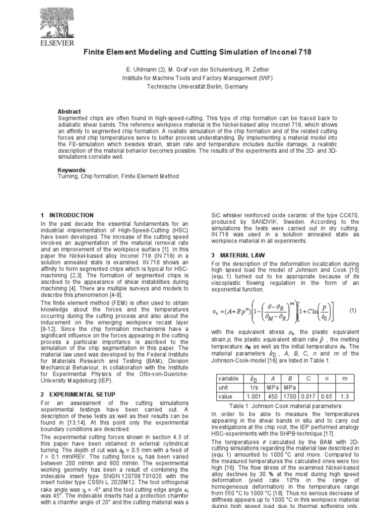 Finite Element Modeling and Cutting Simulation of Inconel