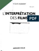 01 (13 01 2021) - AUMONT Jacques, L'Interprétation Des Films, Paris, Armand Colin, 2017, Pp. 11-16