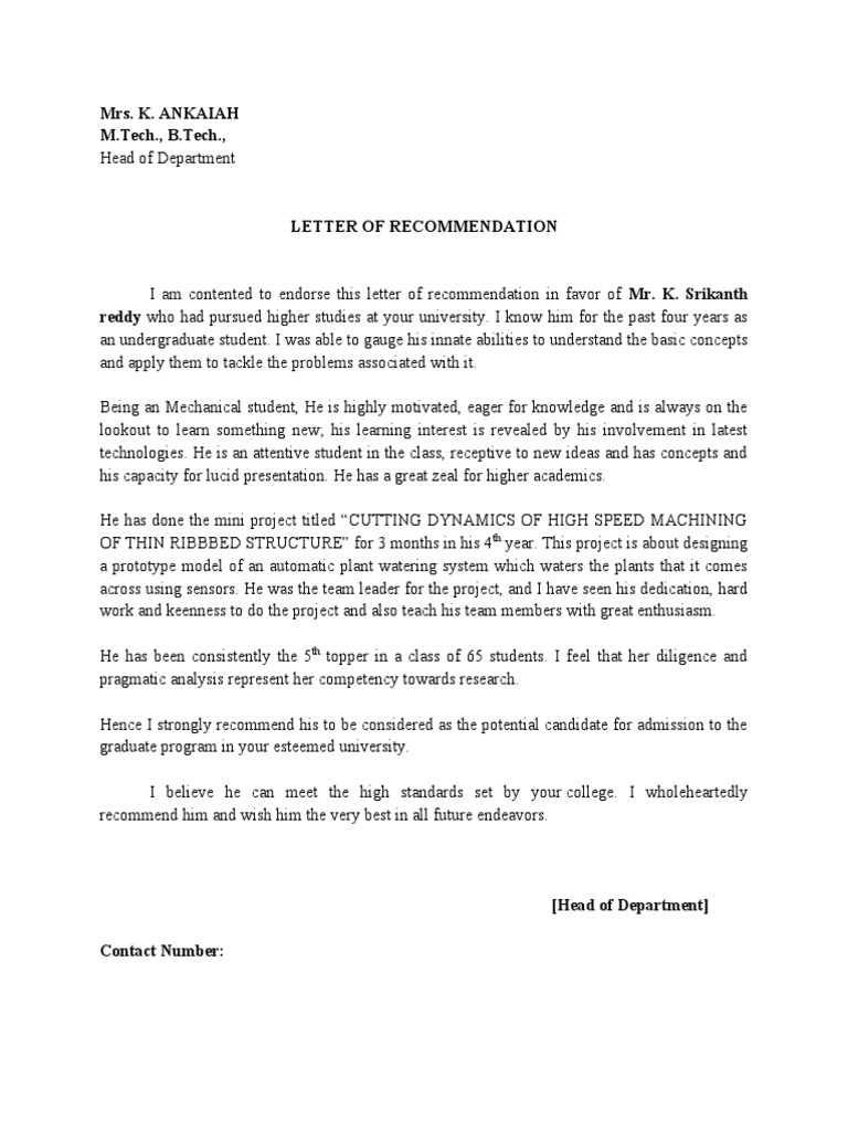 Letter of recommendation by hod expocarfo Choice Image