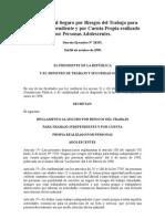 Reglamento al Seguro por Riesgos del Trabajo para Trabajo Independiente y por Cuenta Propia realizado por Personas Adolescentes.