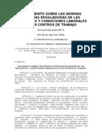 Decreto Ejecutivo No. 4. Reglamento Normas Reguladoras y Condiciones Laborales Centros Trabajo