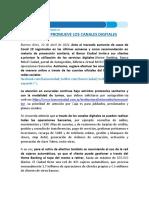 Banco Ciudad Promueve Los Canales Digitales por el COVID