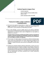 Traducción Inédita y Plagio Academico