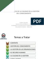 Relevancia de la calidad en la gestión del conocimiento-Claudia Catalan