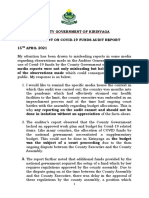 PRESS STATEMENT ON COVID-19 FUNDS AUDIT REPORT