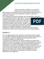 ENSAYO DEL SISTEMA DE GESTION DE CALIDAD EN UNA INSTITUCIÓN HOSPITALARIA