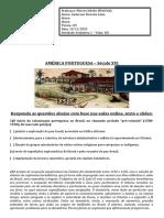 Atividade Avaliativa - 1 ano - América Portuguesa