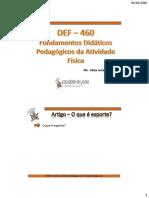 DEF 460 - AULA 05 - DEFINIÇÃO DE ESPORTE