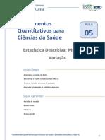 Aula 05 - Fundamentos Quantitativos Para Ciências Da Saúde