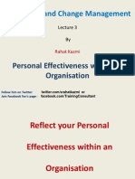 Personal Effectiveness within an Organisation, Lecture 3, By Rahat Kazmi