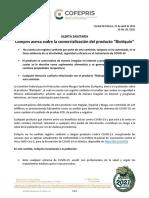 Alerta Cofepris sobre comercialización de supuesto tratamiento contra Covid-19 'Biotiquín'