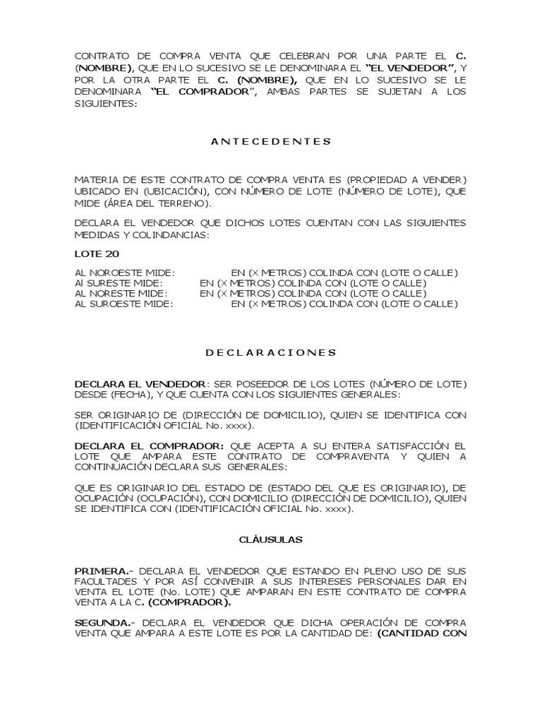 EJEMPLO DE CONTRATO DE COMPRAVENTA DE LOTE