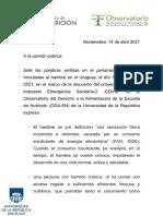 Comunicado del Observatorio del Derecho a la Alimentación Escuela de Nutrición Udelar