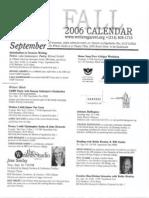 The Writer's Garret Fall 2006 Calendar of Events