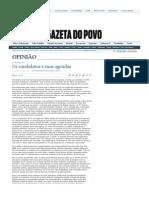 COSTA, L. D.; CODATO, Adriano. Os candidatos e suas agendas. Gazeta do Povo, 2 out. 2008.