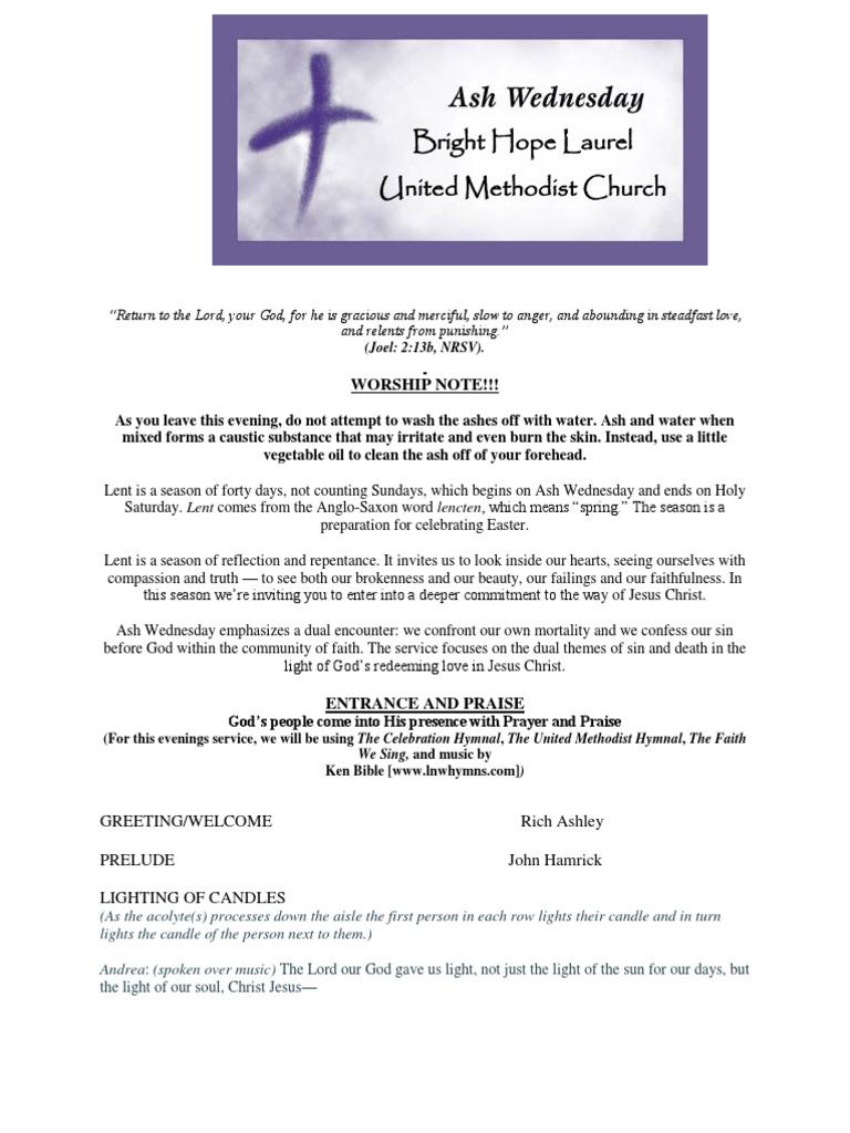 Ash Wednesday Bulletin For Website Lent Hymns