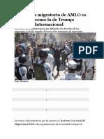 La política migratoria de AMLO es xenófoba como la de Trump