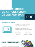 PUNTO Y MODO DE ARTICULACION DE LOS FONEMAS